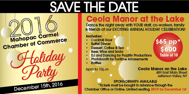 Mahopac Carmel Chamber of Commerce Holiday Party Save the Date